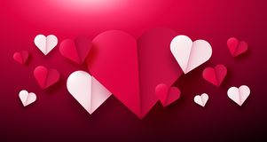 Valentines day background with paper origami hearts divided into half. Vector illustration. Ideal for flyer, invitations, banners, greeting cards Royalty Free Stock Images