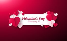 Valentines day background with paper origami hearts divided into half. Royalty Free Stock Photos