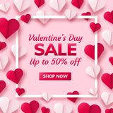 Valentines day background with paper origami hearts divided into half. Valentines day sale background with paper origami hearts divided into half. Vector Stock Photos