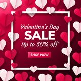Valentines day background with paper origami hearts divided into half. Valentines day sale background with paper origami hearts divided into half. Vector Stock Image