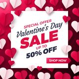 Valentines day background with paper origami hearts divided into half. Royalty Free Stock Images