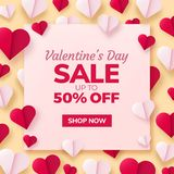 Valentines day background with paper origami hearts divided into half. Stock Images