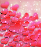 Valentines day background pattern hearts and light and stars. Illustration stock illustration
