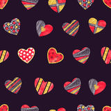 Valentines day background with patterned hearts. Stock Photo