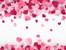 Valentines day background with pink hearts. Love background. Colorful confetti. Vector illustration.  Royalty Free Stock Image
