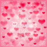 Valentines day background with pink hearts Stock Photography