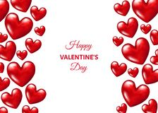 Valentines day  background with  realistic 3d red  hearts. Weeding decoration.  Vector  illustration for sale banner,  greeting postcard, save the date card Royalty Free Stock Photography