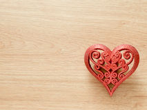 Valentines day background with red glitter heart on wood floor. Love and Valentine concept Stock Photography