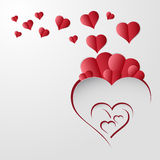 Valentines day background with red heart paper Stock Photos