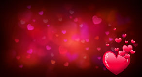Valentines day background with red heart shapes Stock Photo