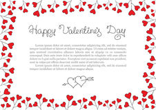 Valentines Day Background . Red Hearts Border Frame. Vector horizontal Frame. Royalty Free Stock Images
