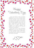Valentines Day Background . Red Hearts Border Frame. Vector vertical Frame. Stock Photos