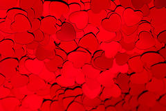 Valentines day background of red hearts confetti. Stock Photo