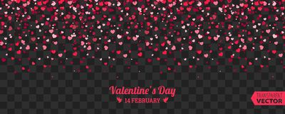 Valentines Day background of red hearts falling. Element for greeting cards. Transparent vector effect Royalty Free Stock Photos