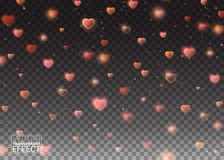 Valentines Day background of Red Hearts Falling. Symbol Love. Stock Images
