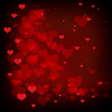 Valentines day background with red hearts, love background design. Valentines day background with hearts floating on red background, heart design for February Stock Photos