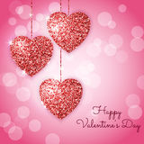 Valentines day background with red hearts. Shining glitter textured hearts on a pink background.. Vector template for greeting card Stock Images