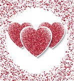 Valentines day background with red hearts. Shining glitter textured hearts Vector template for greeting card Stock Photography