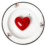 Valentines Day background with Red Hearts on vintage plate with Stock Photo