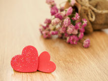 Valentines day background with red hearts on wood floor. Love and Valentine concept Royalty Free Stock Photography