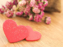 Valentines day background with red hearts on wood floor. Love and Valentine concept Royalty Free Stock Photos