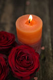 Valentines Day background red rose with candle royalty free stock photos