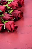 Valentines Day background with red roses close up - vertical Royalty Free Stock Images