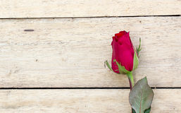 Valentines day background with red roses on wood texture for bac Stock Photography