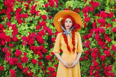 Valentines Day background. Retro girl with red lips in stylish yellow dress in dots in beautiful summer roses garden. Valentines Day beauty redhead model with royalty free stock images