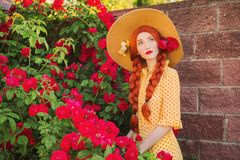 Valentines Day background. Retro girl with red lips in stylish yellow dress in dots in beautiful summer roses garden. royalty free stock photos