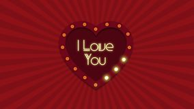 Valentine s Day background. Retro light sign. Heart shape. Valentines Day background. Retro light sign. Heart shape. I love you. Signboard with lighted lamps in stock video
