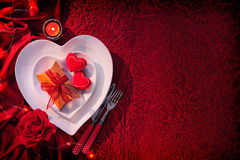 Valentines day background. Romantic table setting for Valentines day Stock Photo