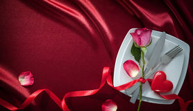 Valentines day background. Romantic table setting for Valentines day Royalty Free Stock Photos