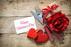 Valentines day background. Romantic table setting for Valentines day with message Royalty Free Stock Photos