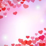 Valentines Day background with scattered blurred tender hearts Royalty Free Stock Photography