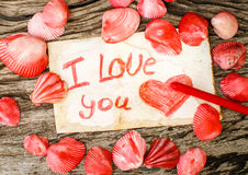 Valentines Day background with seashells and message I Love You Stock Photo