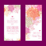 Valentines day background. Set of banners Stock Images