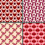 Valentines day background set. Bright retro seamless patterns tiling Red color. Repeating texture can be used for printing onto fa Royalty Free Stock Photography