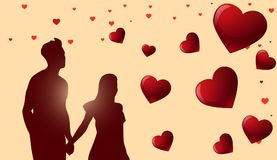Valentines Day Background With Silhouette Couple Holding Hands Over Red Hearts. Vector Illustration Royalty Free Stock Photo