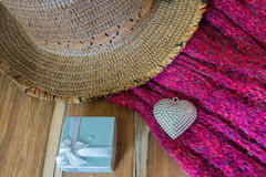 Valentines Day background with Silver heart, scarf, hat and gift Stock Photos