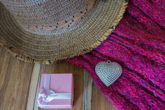 Valentines Day background with Silver heart, scarf, hat and gift Royalty Free Stock Photos