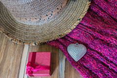 Valentines Day background with Silver heart, scarf, hat and gift Royalty Free Stock Photo