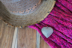 Valentines Day background with Silver heart, scarf, and hat. Lov Stock Image