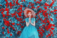 Free Valentines Day Background. Spring Rose Flower Garden. Fabulous Lady With Red Lips In Dress. Gardening On Farm. Awesome Flower Wall Royalty Free Stock Images - 136782969