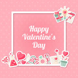 Valentines day background with square frame Stock Image