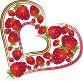 Valentines Day background with strawberries. Valentines Day background with hearts, strawberries, element for design,  illustration Royalty Free Stock Photos