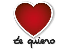 Valentines day background te quiero spanish words over white 14 Royalty Free Stock Images