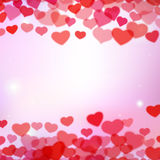 Valentines Day background with tender hearts Stock Images