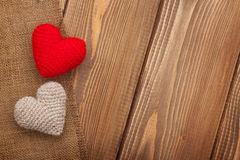 Valentines day background with toy hearts Royalty Free Stock Images