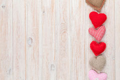 Valentines day background with toy hearts Royalty Free Stock Photography